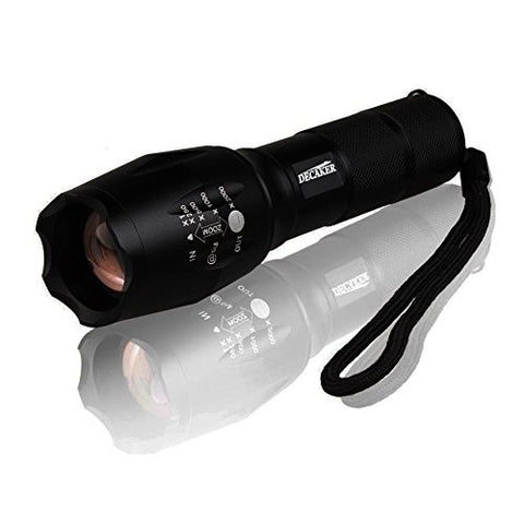 Decaker Tactical Flashlight, 800 Lumens High-Powered Tactical Flashlight with 5 modes & zoom function.Military Grade