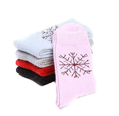 5 Pair Assorted Color Snowflake Pattern Thickened Wool Socks for Women Lady Girl Keep Foot Warmer in Winter Color Random