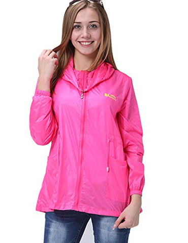 "Only Faith Women's Summer Ultra Thin Anti UV Long Sleeve Hooded Cardigan (XL(chest: 41.73""), rose red)"