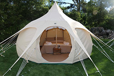 Lotus Belle Outback Yurt Tent, Perfect For Glamping, All Seasons Canvas Made Of Heavy Duty Cotton