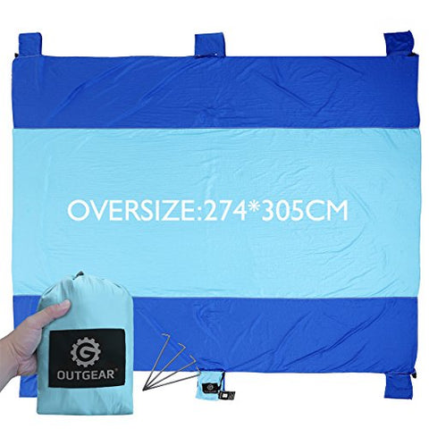 Outgear Sand Escape Oversized 9' X 10 Huge Fast Drying Lightweight Beach Blanket made of 100% Parachute Nylon, Durable Outdoor Picnic Mat Machine Washable with Four Stakes, Completely Sand Proof