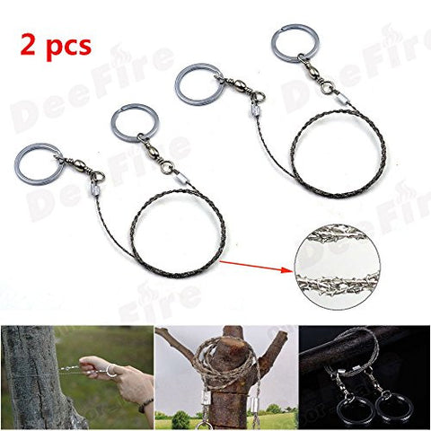 2PCS DeeFire Outdoor Survival Wire Saw Emergency Fretsaw Camping Hunting Hiking Scroll Cutter Steel Ring Tool
