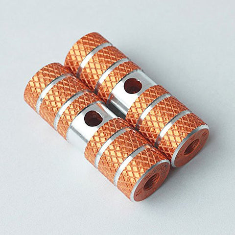 1 Pair of Cylindrical Diamond-Patterned Orange Gold Metallic Alloy Kid-Sized Foot Fixtures Fits Many Standard BMX Trick Mountain Bikes (2.64in Long, 0.35in Diameter Hole, 0.9in Wide)