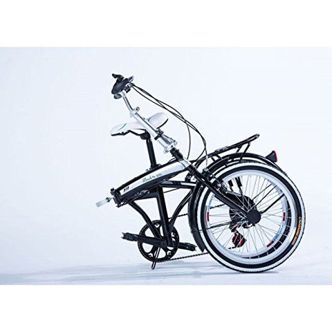 "20"" Folding Bicycle Shimano 6 Speed Bike Fold Storage Black"