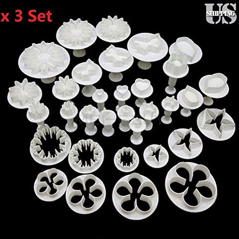 3x Decorating Plunger Cutters Fondant Cake Cookie Sugarcraft Tool Mold Set 33Pcs