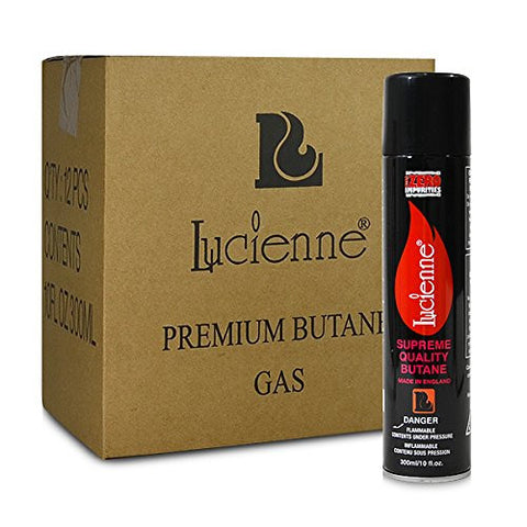 12 cans (1 case) of Lucienne 300ml 4x Refined Butane Fuel