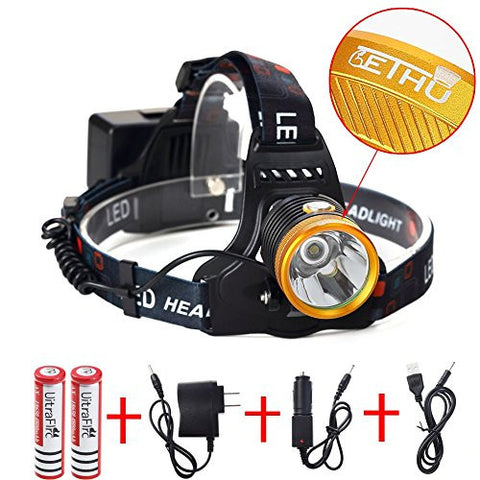 Lethu 2000 Lumen Miner's Lamp Ultra Bright LED Headlamp.Ultra Bright LED Headlamp Flashlight - 3 Light-Modes; high, medium,low. Perfect Hands-Free Portable Work light and Power Sports Headlight