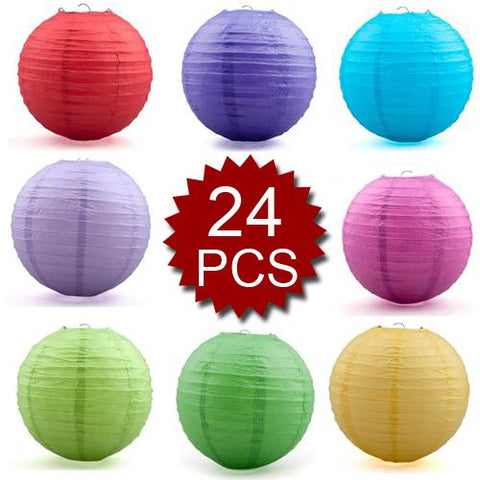 (Price/24 Pcs)Oparty Assorted Color Paper Lantern, 8 Inches