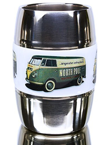 12 Ounce Camping/Travel Mug. Grip Graphic- Vintage VW Green Bus. Double Wall Premium Stainless. No Sweat. Keeps Drinks Ice-Cold, Coffee Pipping-Hot. Fits Standard Car Holders. Easy to Clean.