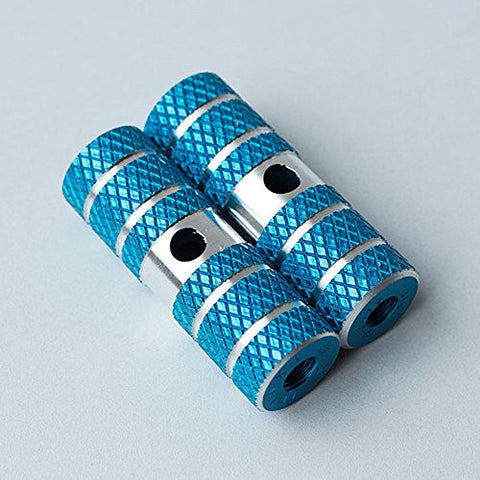 1 Pair of Cylindrical Diamond-Patterned Blue Metallic Alloy Kid-Sized Foot Fixtures Fits Many Standard BMX Trick Mountain Bikes (2.64in Long, 0.35in Diameter Hole, 0.9in Wide)