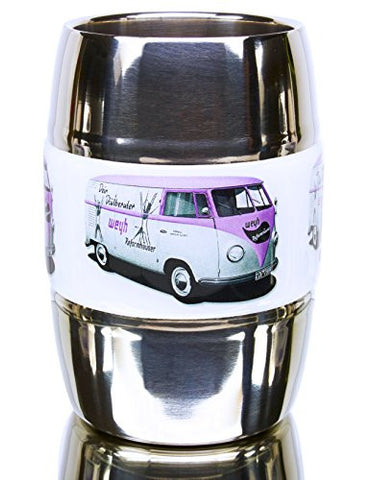 12 Ounce Camping and Travel Mug. Grip Graphic- Vintage VW Bus Pink. Double Wall Premium Stainless. No Sweat. Keeps Drinks Ice-Cold, Coffee Pipping-Hot. Fits Standard Car Holders. Easy to Clean.