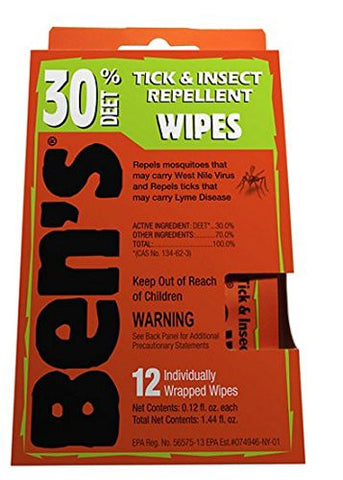 Ben's Tick & Insect Repellent Wipes, 30% Deet 12 ea,6 pk