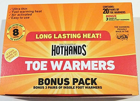 20 Pairs of HotHands Toe Warmers + Bonus Insole Foot Warmers