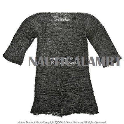 Black Large Size Hauberk Round Ring Riveted Medieval Chainmail Shirt SCA LARP By Nauticalmart