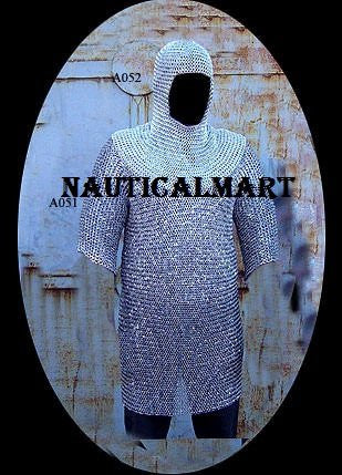 Chain Mail Hauberk Shirt With Head Coif Knight Armor SCA By Nauticalmart