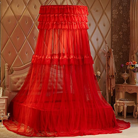 XH@G H&C Summer autumn red mosquito-proof dome suspended French court Princess mosquito nets