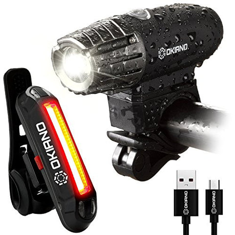 Premium USB Rechargeable Bike Light Set- Super Bright 350 Lumens Bike Headlight +FREE LED High Brightness Bike TAIL LIGHT Easy Installation & WATER-RESISTANT LED Bike Lights For Safe Cycling At Night
