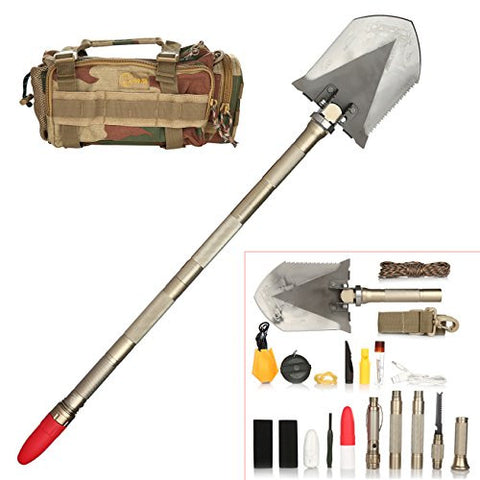Duoji Tibetan Mastiff Foldable Military DIY Shovel with Chopping Cutting Firing Ice- axe Whistling Reinforcing Bar Lighting Charging Functions for Outdoor Camping Hiking