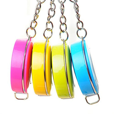 2 Pcs Keychain with Retractable Ruler Key Buckle Key Ring Keyhook Colour Random