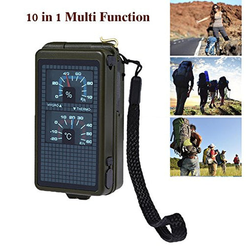 10 Function Emergency Survival Gear Outdoor Portable Multi tools Travel Camping Kit Hiking Hunting Climbing Survival Camping Adventurist Tool W/Fire Starter OD-14