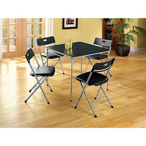 5 Piece Black Color Folding Card Table and Chair Set - Camping Table & Chair set