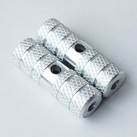 1 Pair of Cylindrical Diamond-Patterned Silver Metallic Alloy Kid-Sized Foot Pegs Fits Many Standard BMX Trick Mountain Bikes (2.64in Long, 0.35in Diameter Hole, 0.9in Wide)