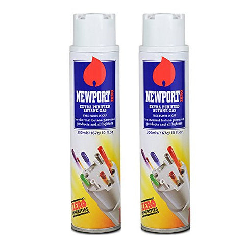 2 cans of Newport 300ml Ultra Purified Butane Fuel Zero Impurities