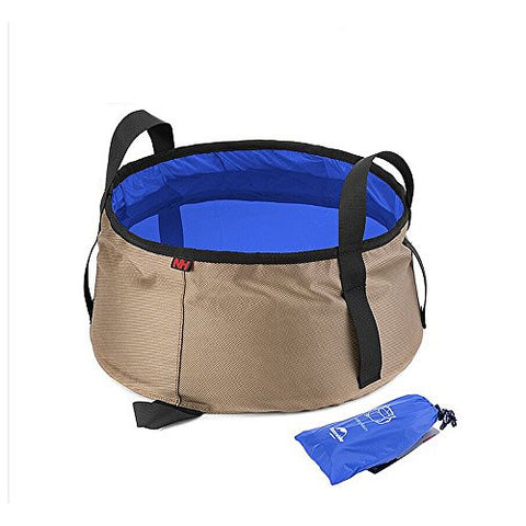 Ultralight outdoor Nylon folding water washbasin portable wash bag 10L for bath camping equipment
