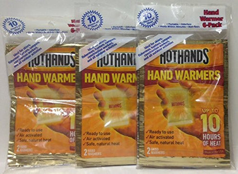 (3 Pack)-HotHands Hand Warmer 6-Pack, Total of 18 Pairs.