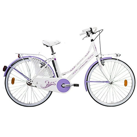 Lombardo Ferrara Classic City Bike with Chain Guard and Dress Guard, 26 inch Wheels, 18 inch Frame, Women's Bike, White/Violet, 99% Assembled