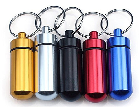 C-Pioneer 1 PC Aluminum Pill Box Case Bottle Holder Container Keychain