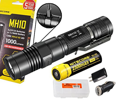 Nitecore MH10 1000 Lumens Rechargeable LED Flashlight w/ Battery, USB AC DC Charger, Holster and Lumen Tactical Battery Box