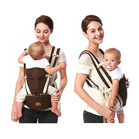Adjustable Baby Carrier-4 Carrying Positions for Infants and Toddlers, Load 30 kg(66lbs), Soft Cool Air Mesh-Best Baby Shower Gift! Brown
