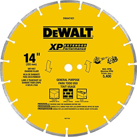 "DeWalt DWA47421 14"" Wet or Dry Segmented Diamond Circular Saw Blade"