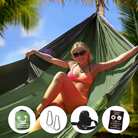 """7th Heaven"" Premium Parachute Silk Camping Portable HAMMOCK SET, Free Straps, Doublenest 400lbs Strong, Lightweight, Fast & Easy Setup. Includes Straps & Carabiners, Indoor&Outdoor Use, Portable Bed"