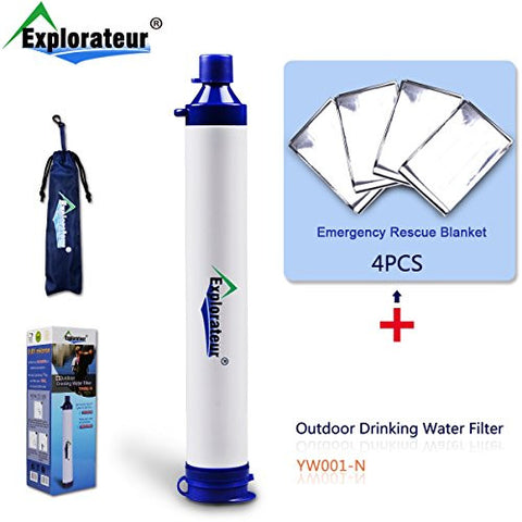 Explorateur Convenient Portable Personal Outdoor Water Filter With Filtration Straw Tube For Camping, Traveling, Hiking, Emergency Survival & Expeditionary Kit/Equipment (4x Rescue Blankets Per Pack)