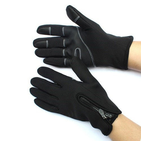 Winter WindStopper Thermal Fleece Touch Screen Gloves Outdoor Sport Bicycle MTB Racing Full Finger Cycling Motorcycle Protective Hand Gloves for Women Men Riding Size Xl
