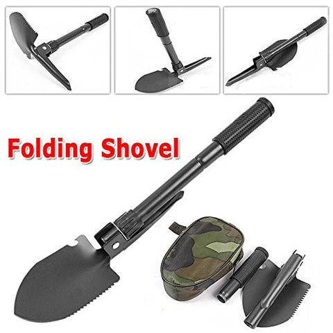 iMeshbean® Multi-functional Military Folding Shovel Light Weight Portable Survival Spade Emergency Garden Camping Hiking Tool with Compass USA