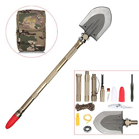 Duoji Tibetan Mastiff Foldable Military Shovel with Chopping Cutting Firing Measuring Whistling Reinforcing Lighting Charging Functions for Outdoor Camping Hiking