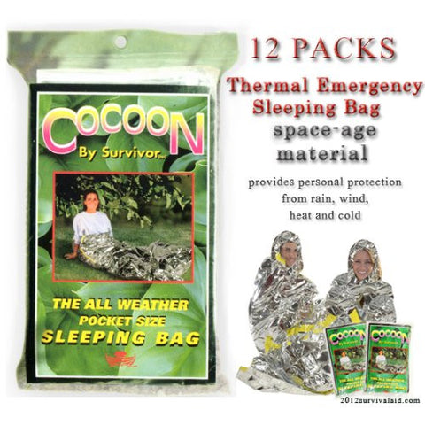Cocoon Thermal Emergency Sleeping Bag 12 Packs Waterproof/reusable/portable