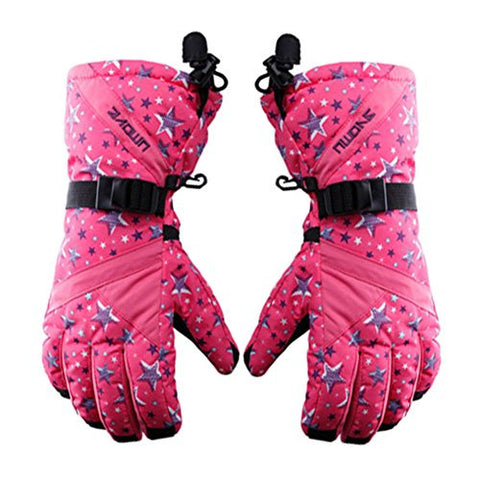 Ladies' Sports Gloves Thicken Skiing/Cycling Gloves Windproof Waterproof Pink
