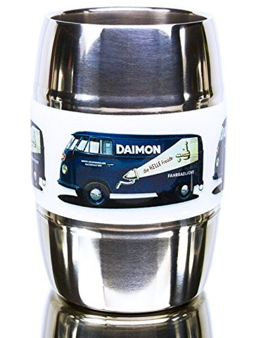 12 Ounce Camping/ Travel Mug.Grip Graphic- Vintage VW Bus Blue. Double Wall Premium Stainless. No Sweat. Keeps Drinks Ice-Cold, Coffee Pipping-Hot. Fits Standard Car Holders. Easy to Clean.