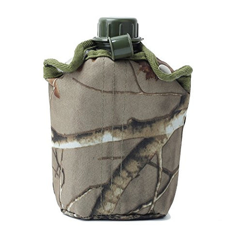 850ml Army Style Patrol Plastic Water Bottle Military Canteen Outdoor Sport Camping Hiking Travel + Camo Bag