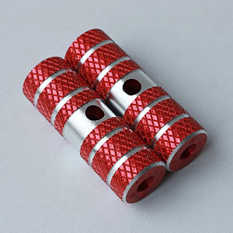 1 Pair of Cylindrical Diamond-Patterned Red Metallic Alloy Kid-Sized Foot Fixtures Fits Many Standard BMX Trick Mountain Bikes (2.64in Long, 0.35in Diameter Hole, 0.9in Wide)