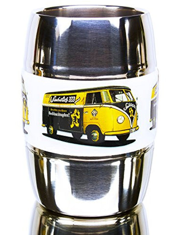 12 Ounce Camping and Travel Mug. Grip Graphic- Vintage VW Bus Yellow. Double Wall Premium Stainless. No Sweat. Keeps Drinks Ice-Cold, Coffee Pipping-Hot. Fits Standard Car Holders. Easy to Clean.