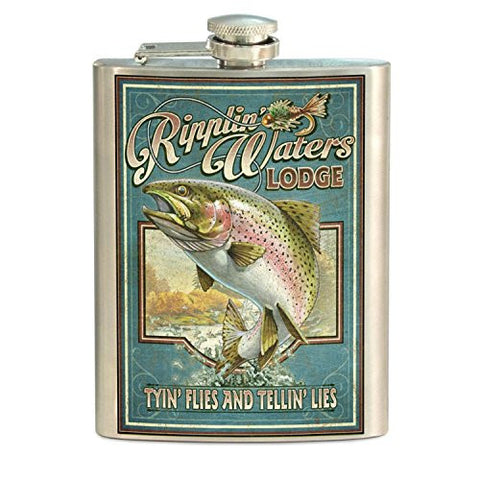 American Expedition STFL-412 Vintage Sign Flask, Rainbow Trout, Multi-Color