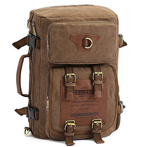 KAUKKO Men's Canvas Army Style Shoulder Travel Tactical Backpacks