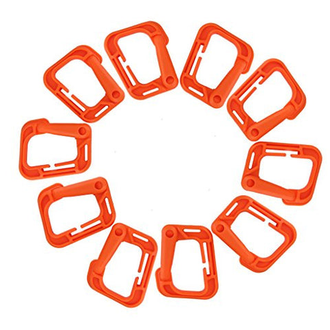 10pcs Outdoor Carabiner Snap Clip Hook Holder Camping Hiking - Orange