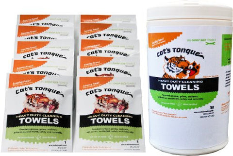 Cat's Tongue Heavy Duty Cleaning Degreaser Wipes / Degreasing Towels - 30/10 Bundle: 30-count & 10-pack