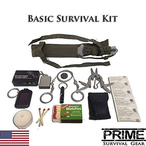 Survival Kit Military Gear Knife Bug Out Bag Fire Starter Water Purification SOS